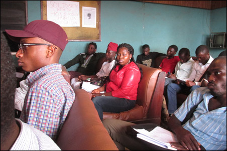 Cross section of audience at DSM Student Wing meeting, photo by DSM