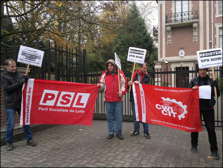 Protests in Nigeria and Europe against Non-Registration of SPN - Brussels, Belgium 2