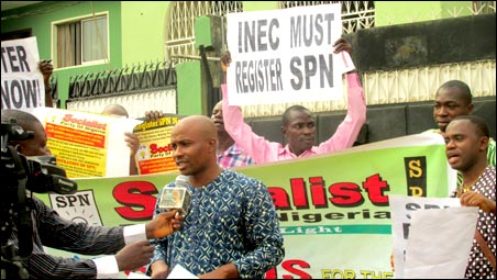 Chinedu Bosah, National Secretary of the SPN, speaking with journalists at the protest in Lagos - photo DSM