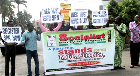 SPN members at the protest in Lagos - photo DSM