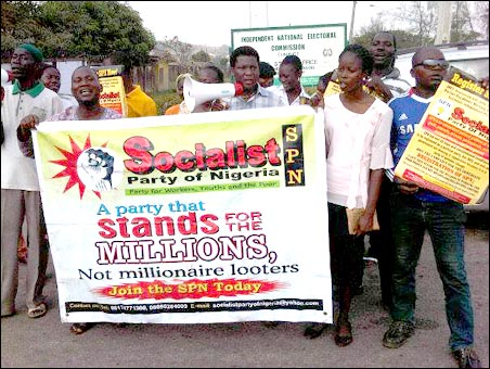SPN members at the protest in Ibadan - photo DSM