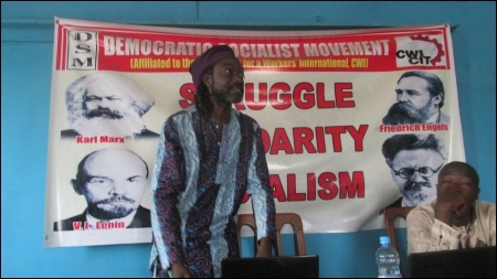 Dagga speaking to the meeting - photo DSM
