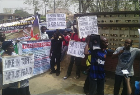 Chinedu Bosah, Publicity Secretary of CDWR and NEC member  of DSM, addresing  a section of the protesters in Lagos- photo DSM